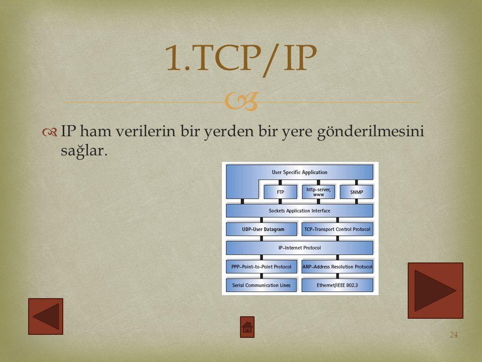   IP ham verilerin bir yerden bir yere gönderilmesini sağlar. 24 1.TCP/IP