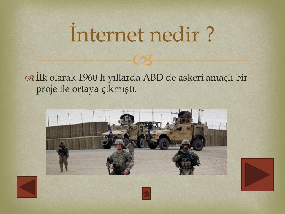   İlk olarak 1960 lı yıllarda ABD de askeri amaçlı bir proje ile ortaya çıkmıştı.