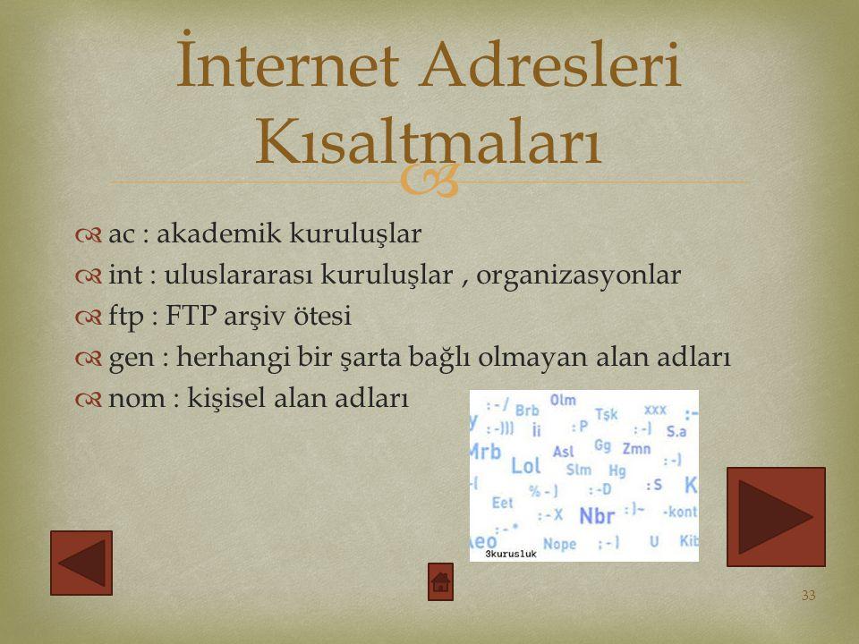   ac : akademik kuruluşlar  int : uluslararası kuruluşlar, organizasyonlar  ftp : FTP arşiv ötesi  gen : herhangi bir şarta bağlı olmayan alan adları  nom : kişisel alan adları 33 İnternet Adresleri Kısaltmaları