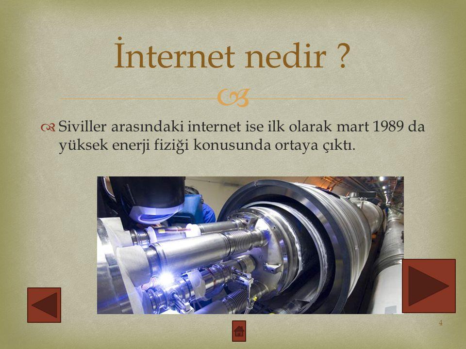   1991 yılında ise etkin biçimde kullanılmaya başlandı. İnternet nedir ? 5