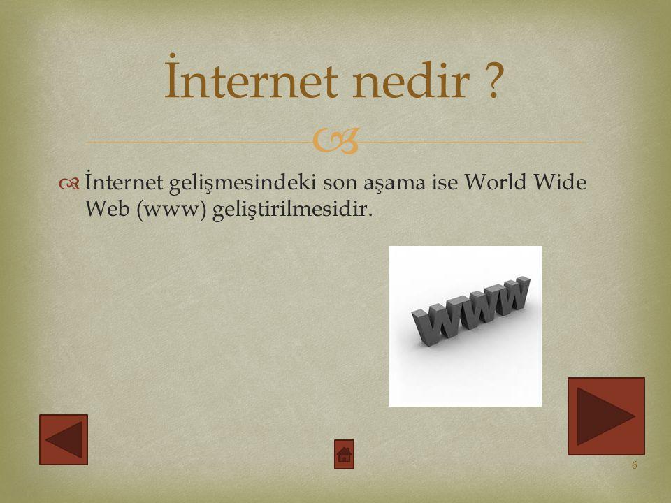   İnternet gelişmesindeki son aşama ise World Wide Web (www) geliştirilmesidir.