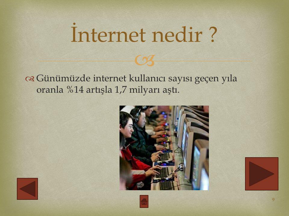   Günümüzde internet kullanıcı sayısı geçen yıla oranla %14 artışla 1,7 milyarı aştı.