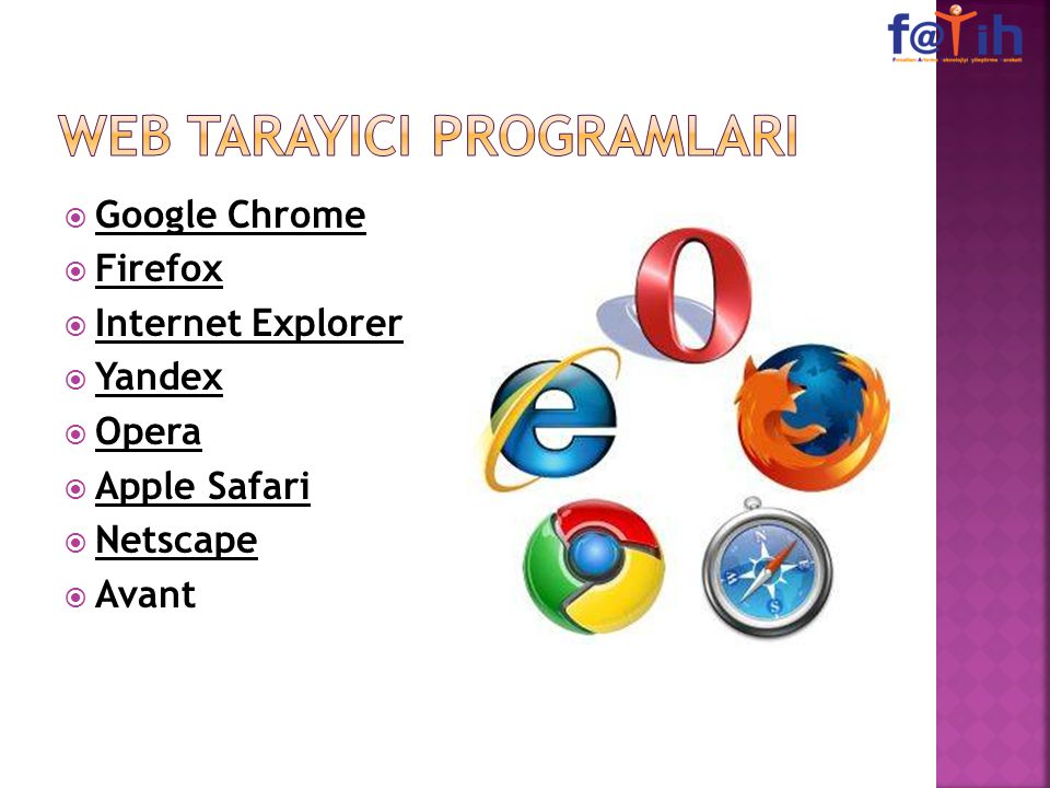  Google Chrome  Firefox  Internet Explorer  Yandex  Opera  Apple Safari  Netscape  Avant