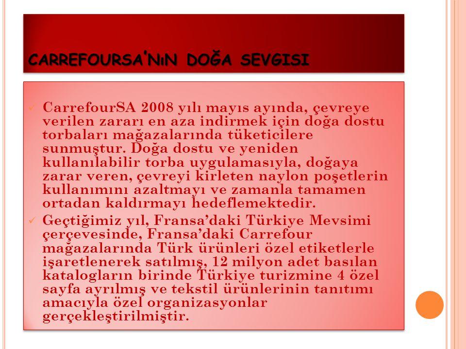 """ Türkiye'de ilk kez CarrefourSA tarafından başlatılan """"Doğa Tat Carrefour ürünleri"""" projesi tüm hızıyla devam etmektedir. 2003 yılında levrek, çipura"""