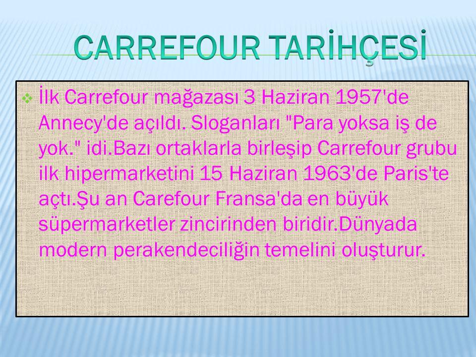  Carrefour, merkezi Fransa'da olan uluslararası bir süpermarketler zinciridir.Dünyanın en büyük cirosuna sahip mağazacılık şirketidir. Ağırlıklı olar