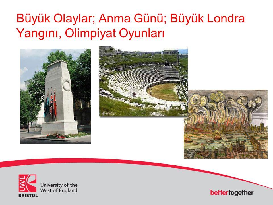 Büyük Olaylar; Anma Günü; Büyük Londra Yangını, Olimpiyat Oyunları