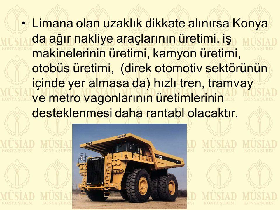 Limana olan uzaklık dikkate alınırsa Konya da ağır nakliye araçlarının üretimi, iş makinelerinin üretimi, kamyon üretimi, otobüs üretimi, (direk otomo