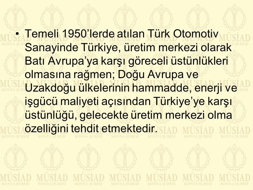Temeli 1950'lerde atılan Türk Otomotiv Sanayinde Türkiye, üretim merkezi olarak Batı Avrupa'ya karşı göreceli üstünlükleri olmasına rağmen; Doğu Avrup