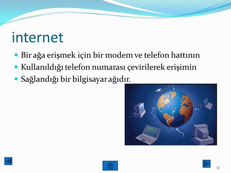 internet İnternete bağlanmak için kullanılan yöntemlere bakacak olursak iki kısımda sınıflandırabiliriz. 12