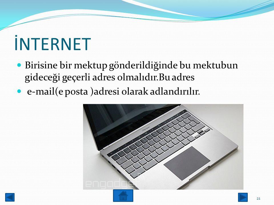 İNTERNET Wep servisine,web tarayıcı (web browser)adı verilen kullanıcı ara birim Programları ile erişilir. 20