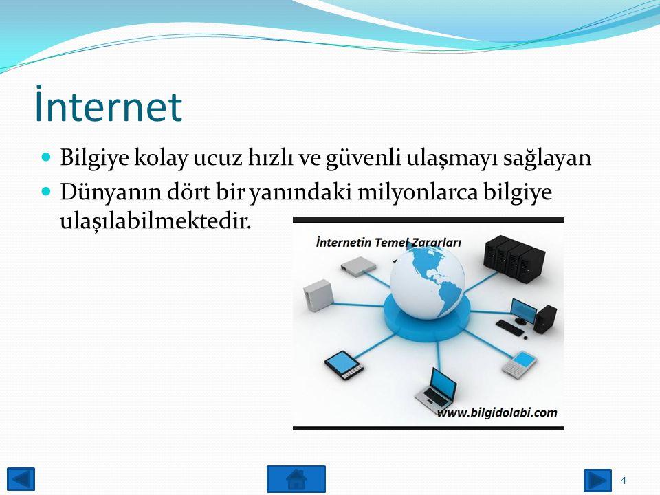 İnternet Bilgiye kolay ucuz hızlı ve güvenli ulaşmayı sağlayan Dünyanın dört bir yanındaki milyonlarca bilgiye ulaşılabilmektedir.
