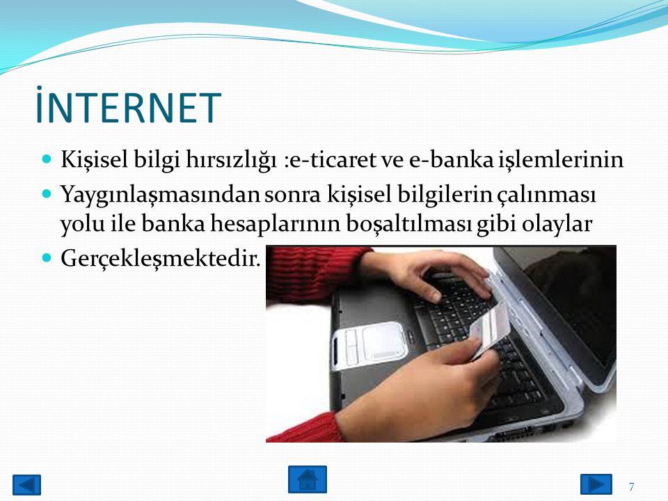 İNTERNET Kişisel bilgi hırsızlığı :e-ticaret ve e-banka işlemlerinin Yaygınlaşmasından sonra kişisel bilgilerin çalınması yolu ile banka hesaplarının boşaltılması gibi olaylar Gerçekleşmektedir.