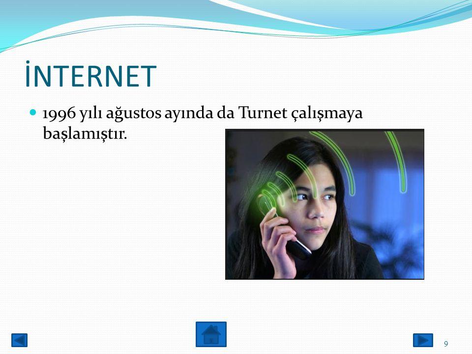 internet ODTÜ'den gerçekleştirilen ilk bağlantı 64kbit/sn.hızında olan bu hat çok uzun bir süre tüm ülkenin ülkenin tek çıkışı olmuş. 8