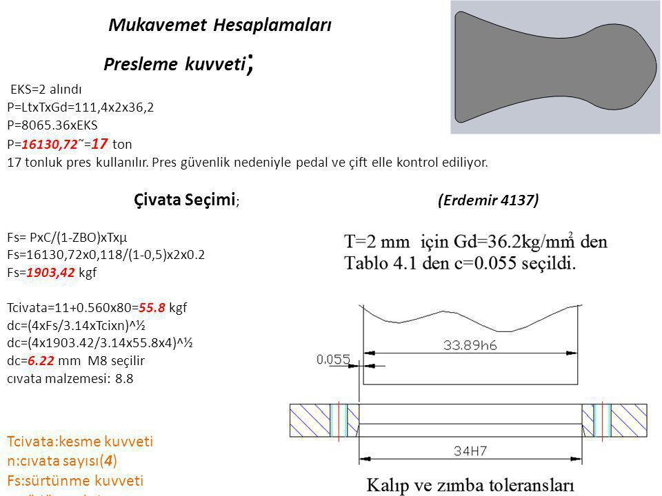 Mukavemet Hesaplamaları Presleme kuvveti ; EKS=2 alındı P=LtxTxGd=111,4x2x36,2 P=8065.36xEKS P=16130,72˜= 17 ton 17 tonluk pres kullanılır. Pres güven