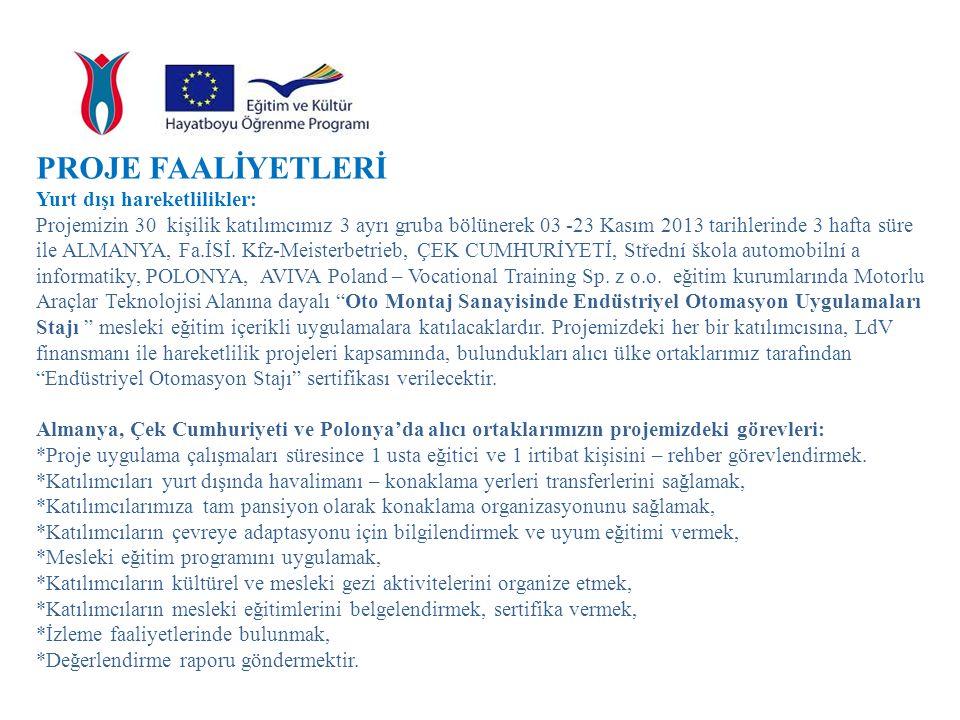 PROJE FAALİYETLERİ Yurt dışı hareketlilikler: Projemizin 30 kişilik katılımcımız 3 ayrı gruba bölünerek 03 -23 Kasım 2013 tarihlerinde 3 hafta süre il