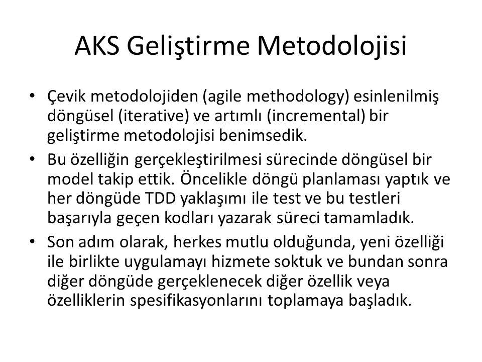AKS Geliştirme Metodolojisi Çevik metodolojiden (agile methodology) esinlenilmiş döngüsel (iterative) ve artımlı (incremental) bir geliştirme metodolo