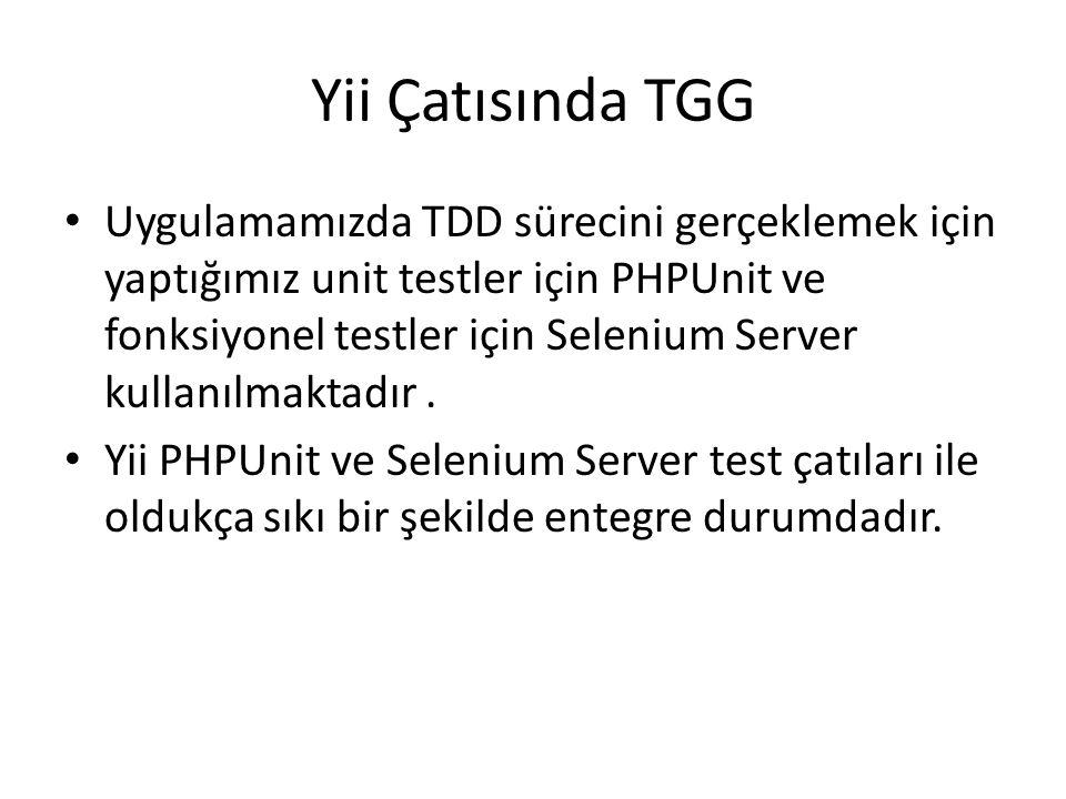 Yii Çatısında TGG Uygulamamızda TDD sürecini gerçeklemek için yaptığımız unit testler için PHPUnit ve fonksiyonel testler için Selenium Server kullanı