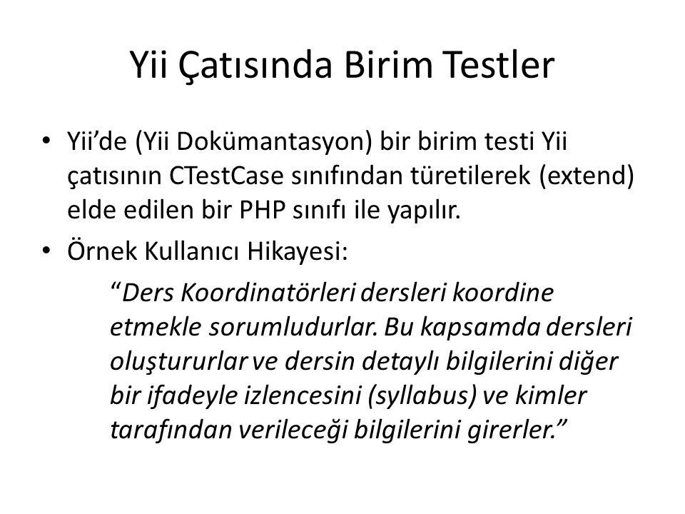 Yii Çatısında Birim Testler Yii'de (Yii Dokümantasyon) bir birim testi Yii çatısının CTestCase sınıfından türetilerek (extend) elde edilen bir PHP sın