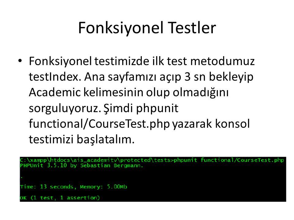Fonksiyonel Testler Fonksiyonel testimizde ilk test metodumuz testIndex. Ana sayfamızı açıp 3 sn bekleyip Academic kelimesinin olup olmadığını sorgulu