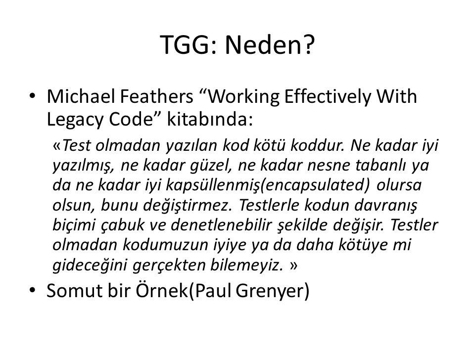 """TGG: Neden? Michael Feathers """"Working Effectively With Legacy Code"""" kitabında: «Test olmadan yazılan kod kötü koddur. Ne kadar iyi yazılmış, ne kadar"""