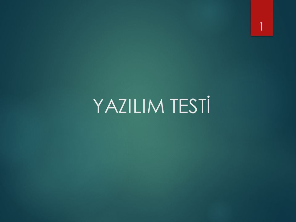 YAZILIM TESTİ 1