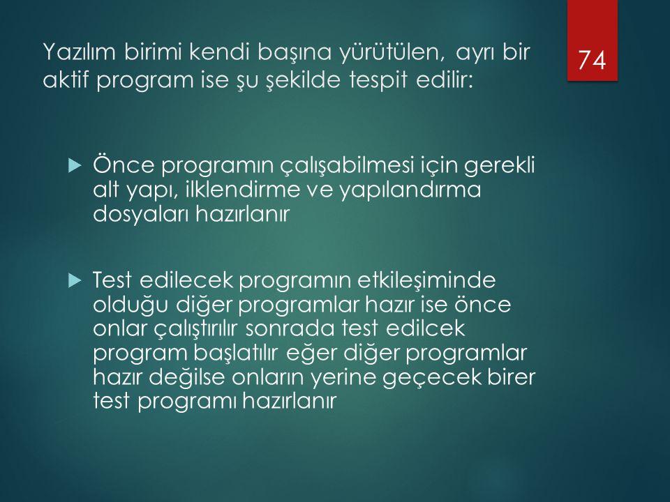Yazılım birimi kendi başına yürütülen, ayrı bir aktif program ise şu şekilde tespit edilir:  Önce programın çalışabilmesi için gerekli alt yapı, ilklendirme ve yapılandırma dosyaları hazırlanır  Test edilecek programın etkileşiminde olduğu diğer programlar hazır ise önce onlar çalıştırılır sonrada test edilcek program başlatılır eğer diğer programlar hazır değilse onların yerine geçecek birer test programı hazırlanır 74