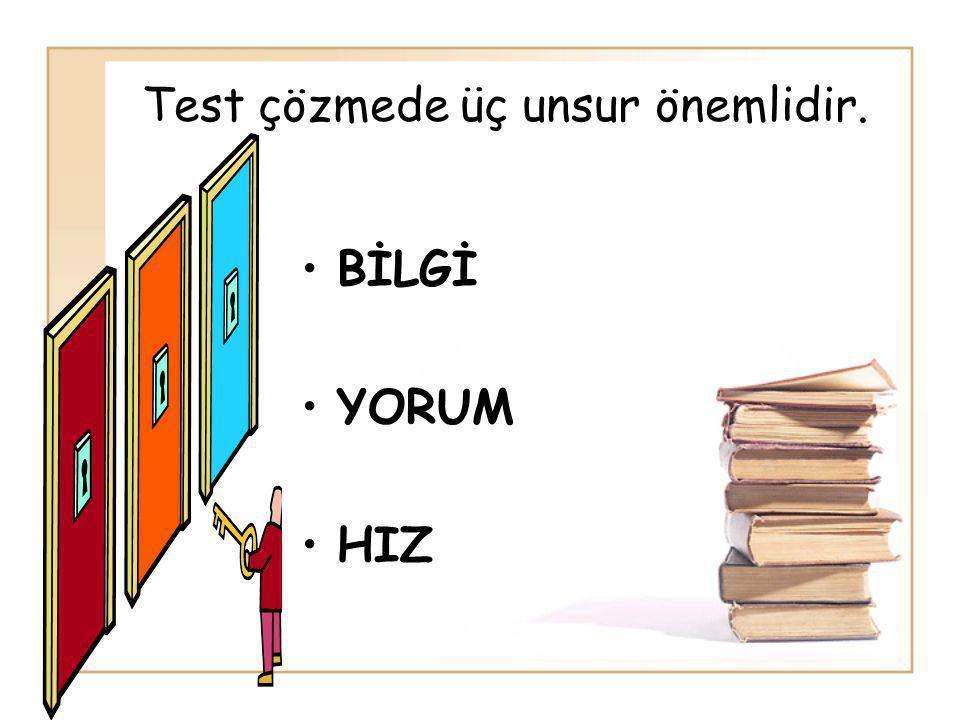 Test çözmede üç unsur önemlidir. BİLGİ YORUM HIZ