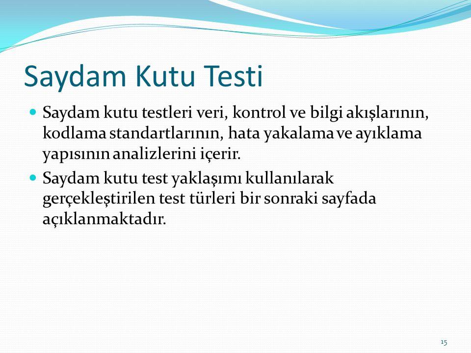 Saydam Kutu Testi Saydam kutu testleri veri, kontrol ve bilgi akışlarının, kodlama standartlarının, hata yakalama ve ayıklama yapısının analizlerini i