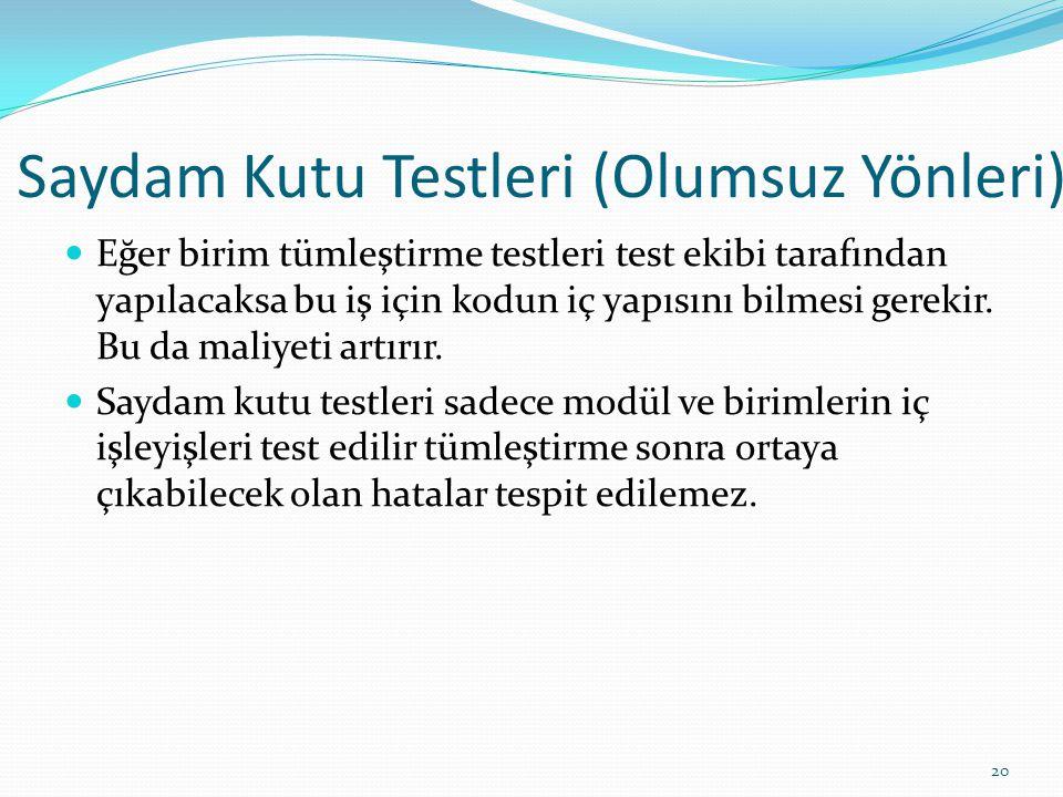 Saydam Kutu Testleri (Olumsuz Yönleri) Eğer birim tümleştirme testleri test ekibi tarafından yapılacaksa bu iş için kodun iç yapısını bilmesi gerekir.