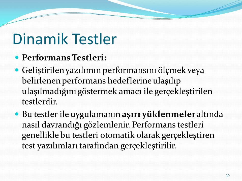 Dinamik Testler Performans Testleri: Geliştirilen yazılımın performansını ölçmek veya belirlenen performans hedeflerine ulaşılıp ulaşılmadığını göster