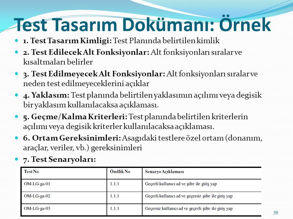 Test Tasarım Dokümanı: Örnek 1. Test Tasarım Kimligi: Test Planında belirtilen kimlik 2. Test Edilecek Alt Fonksiyonlar: Alt fonksiyonları sıralar ve