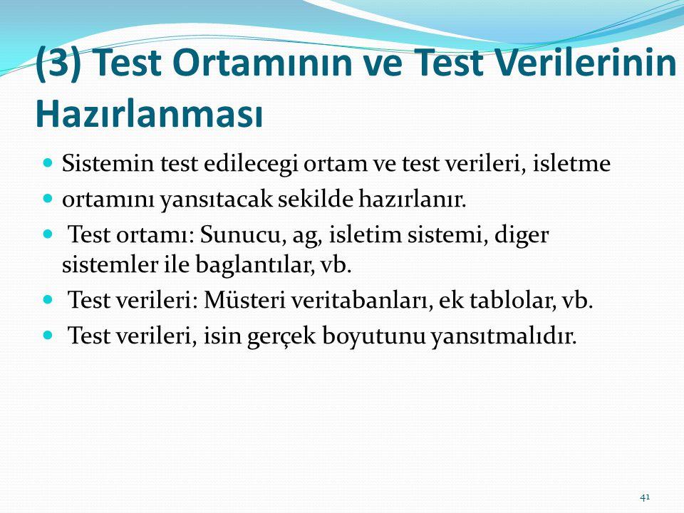 (3) Test Ortamının ve Test Verilerinin Hazırlanması Sistemin test edilecegi ortam ve test verileri, isletme ortamını yansıtacak sekilde hazırlanır. Te