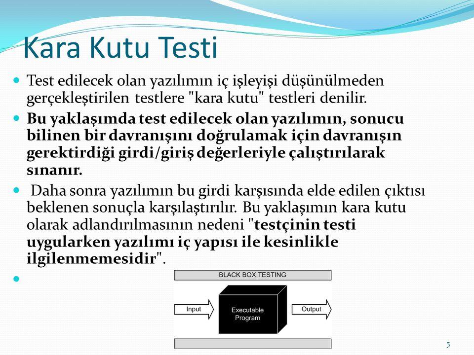 Kara Kutu Testi Test edilecek olan yazılımın iç işleyişi düşünülmeden gerçekleştirilen testlere