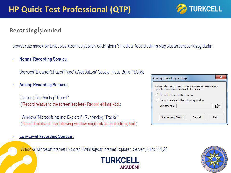HP Quick Test Professional (QTP) Recording İşlemleri Browser üzerindeki bir Link objesi üzerinde yapılan 'Click' işlemi 3 mod'da Record edilmiş olup o