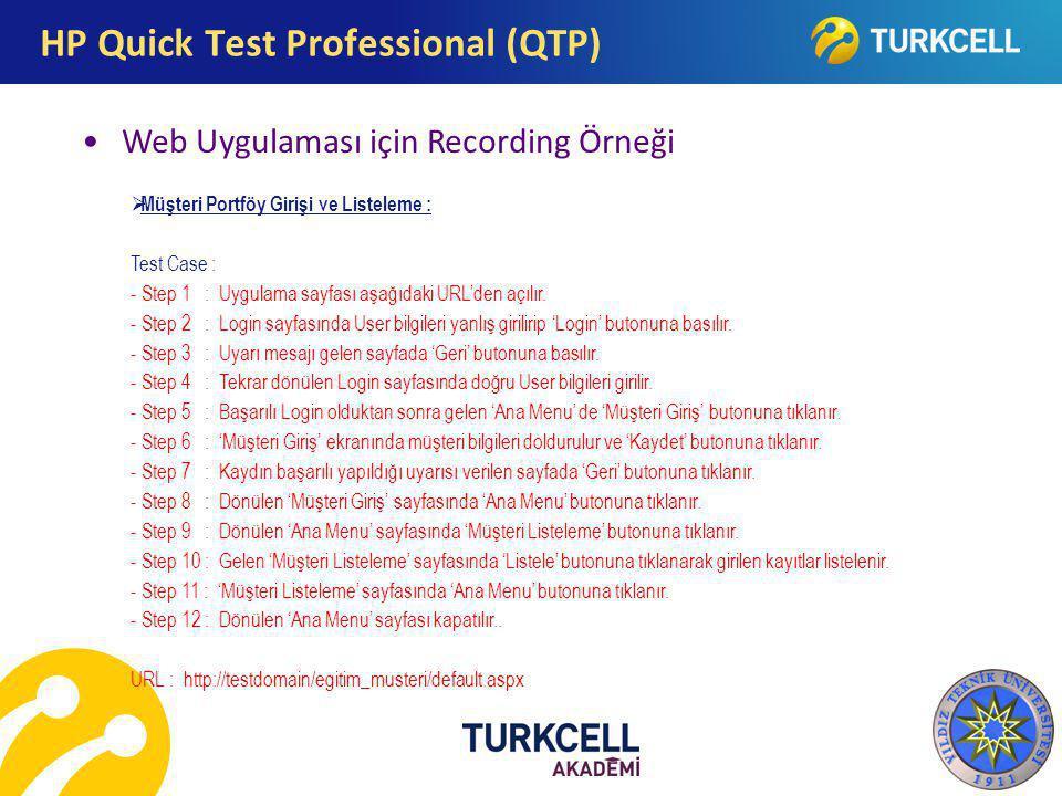 Web Uygulaması için Recording Örneği HP Quick Test Professional (QTP)  Müşteri Portföy Girişi ve Listeleme : Test Case : - Step 1 : Uygulama sayfası