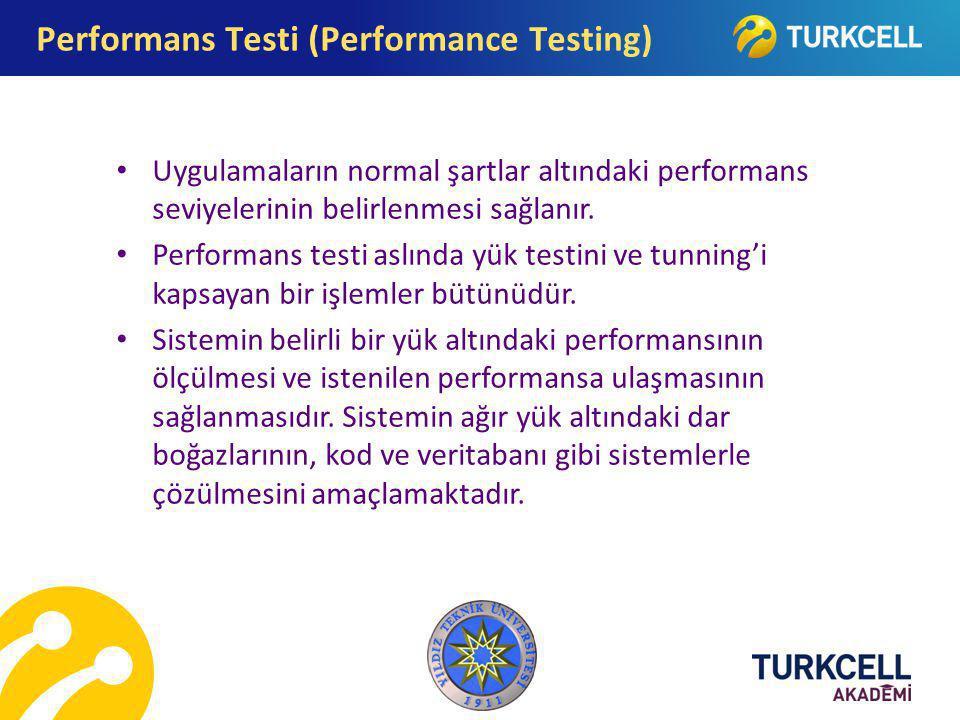Uygulamaların normal şartlar altındaki performans seviyelerinin belirlenmesi sağlanır. Performans testi aslında yük testini ve tunning'i kapsayan bir