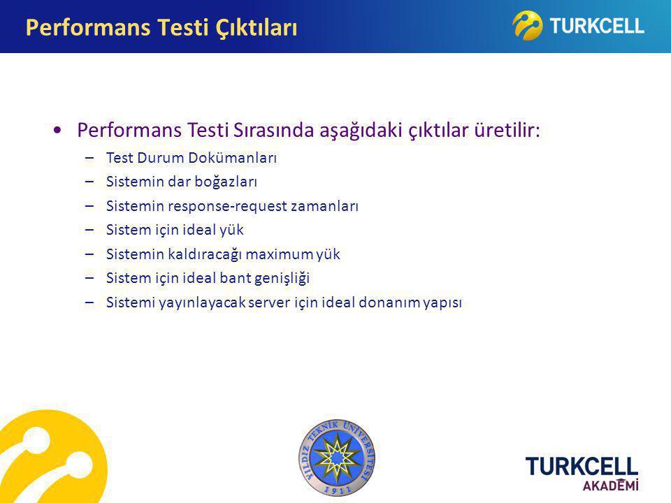 Performans Testi Sırasında aşağıdaki çıktılar üretilir: –Test Durum Dokümanları –Sistemin dar boğazları –Sistemin response-request zamanları –Sistem i