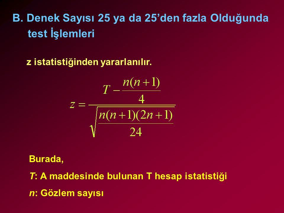 B. Denek Sayısı 25 ya da 25'den fazla Olduğunda test İşlemleri z istatistiğinden yararlanılır. Burada, T: A maddesinde bulunan T hesap istatistiği n: