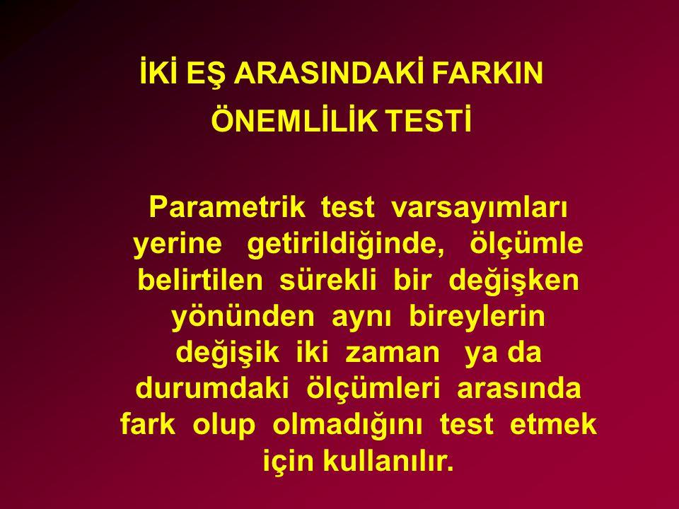 İKİ EŞ ARASINDAKİ FARKIN ÖNEMLİLİK TESTİ Parametrik test varsayımları yerine getirildiğinde, ölçümle belirtilen sürekli bir değişken yönünden aynı bir