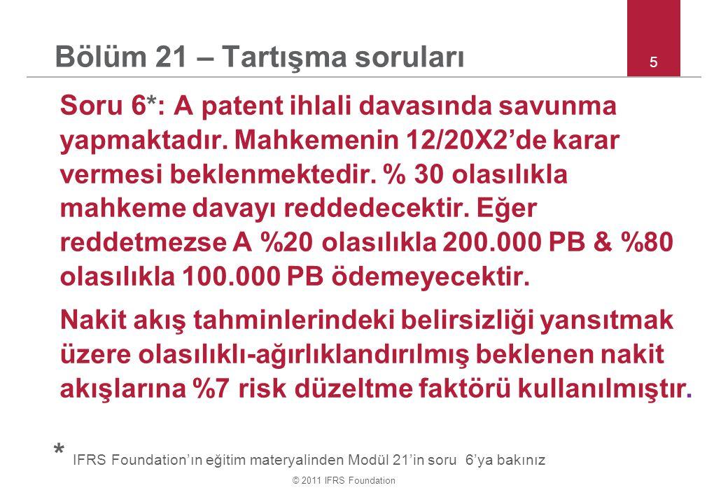 © 2011 IFRS Foundation 5 Bölüm 21 – Tartışma soruları Soru 6 *: A patent ihlali davasında savunma yapmaktadır.