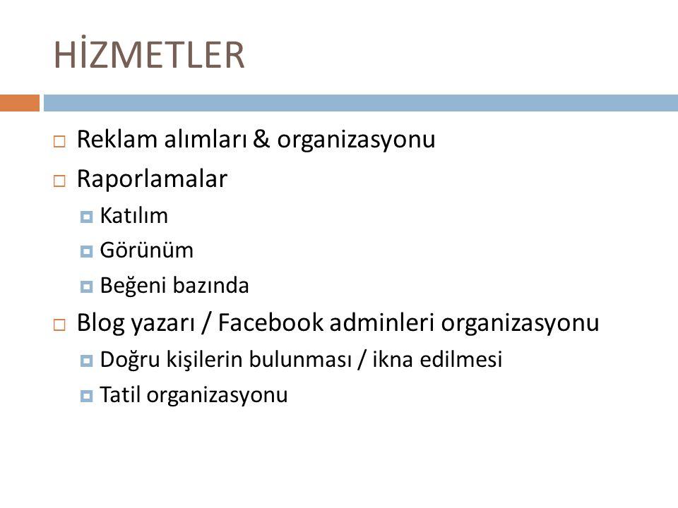 HİZMETLER  Reklam alımları & organizasyonu  Raporlamalar  Katılım  Görünüm  Beğeni bazında  Blog yazarı / Facebook adminleri organizasyonu  Doğ