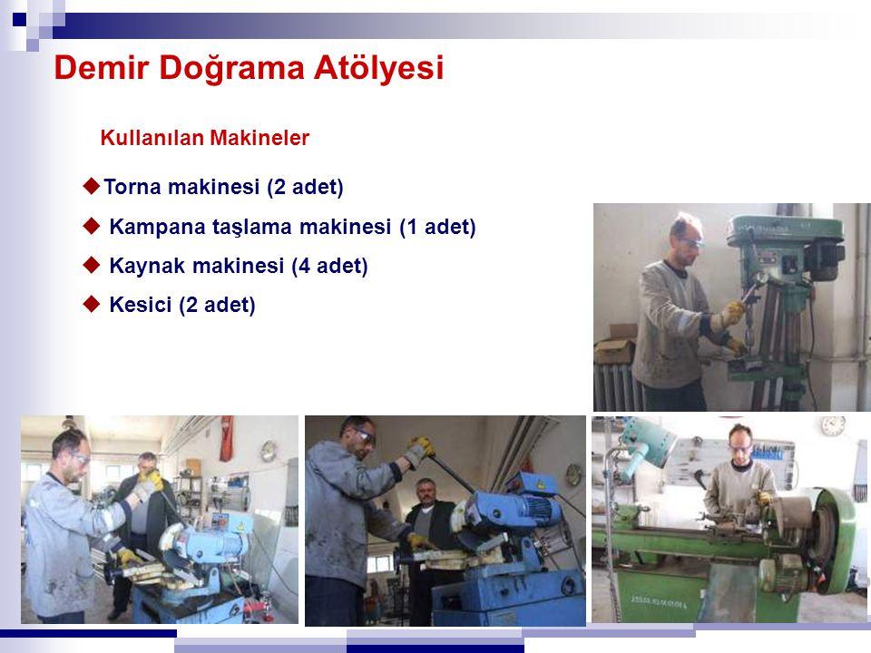 Demir Doğrama Atölyesi Kullanılan Makineler  Torna makinesi (2 adet)  Kampana taşlama makinesi (1 adet)  Kaynak makinesi (4 adet)  Kesici (2 adet)