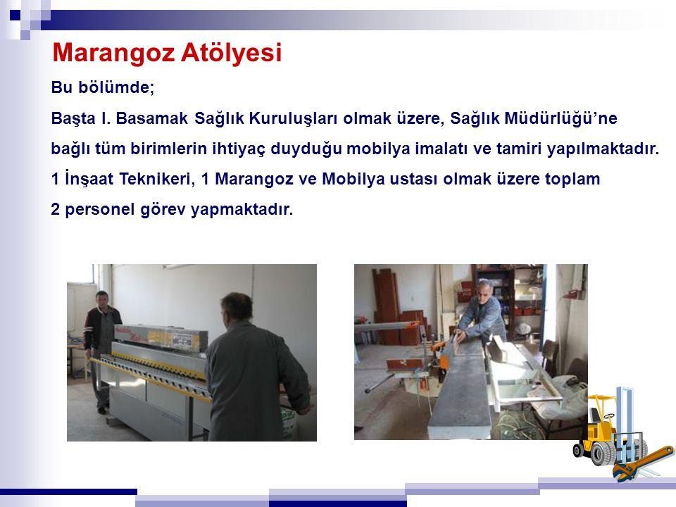 Marangoz Atölyesi Bu bölümde; Başta I. Basamak Sağlık Kuruluşları olmak üzere, Sağlık Müdürlüğü'ne bağlı tüm birimlerin ihtiyaç duyduğu mobilya imalat