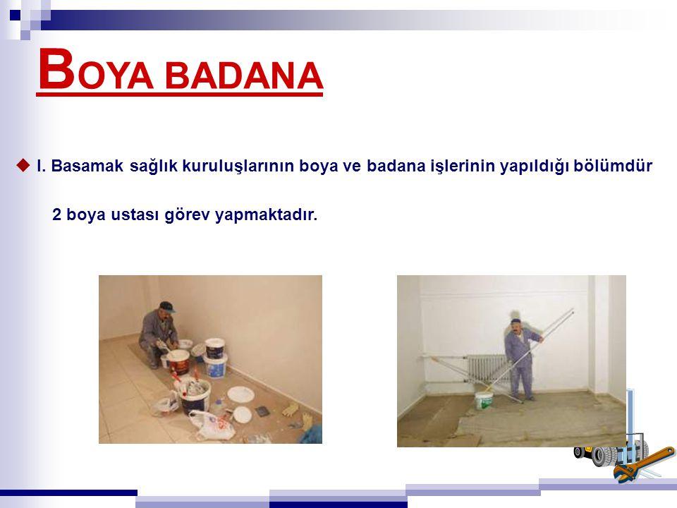 B OYA BADANA  I. Basamak sağlık kuruluşlarının boya ve badana işlerinin yapıldığı bölümdür 2 boya ustası görev yapmaktadır.