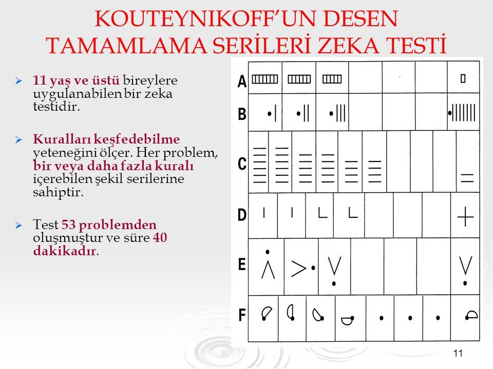 11 KOUTEYNIKOFF'UN DESEN TAMAMLAMA SERİLERİ ZEKA TESTİ   11 yaş ve üstü bireylere uygulanabilen bir zeka testidir.   Kuralları keşfedebilme yetene