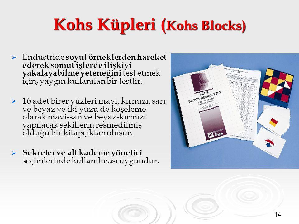 14 Kohs Küpleri ( Kohs Blocks)   Endüstride soyut örneklerden hareket ederek somut işlerde ilişkiyi yakalayabilme yeteneğini test etmek için, yaygın kullanılan bir testtir.