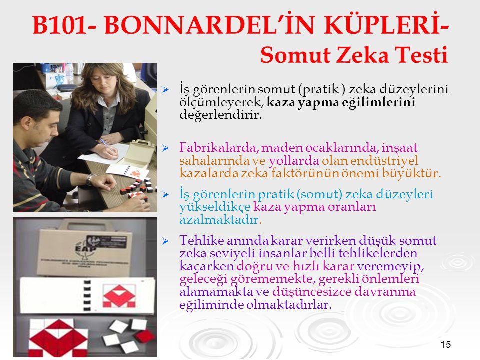 15 B101- BONNARDEL'İN KÜPLERİ- Somut Zeka Testi   İş görenlerin somut (pratik ) zeka düzeylerini ölçümleyerek, kaza yapma eğilimlerini değerlendirir