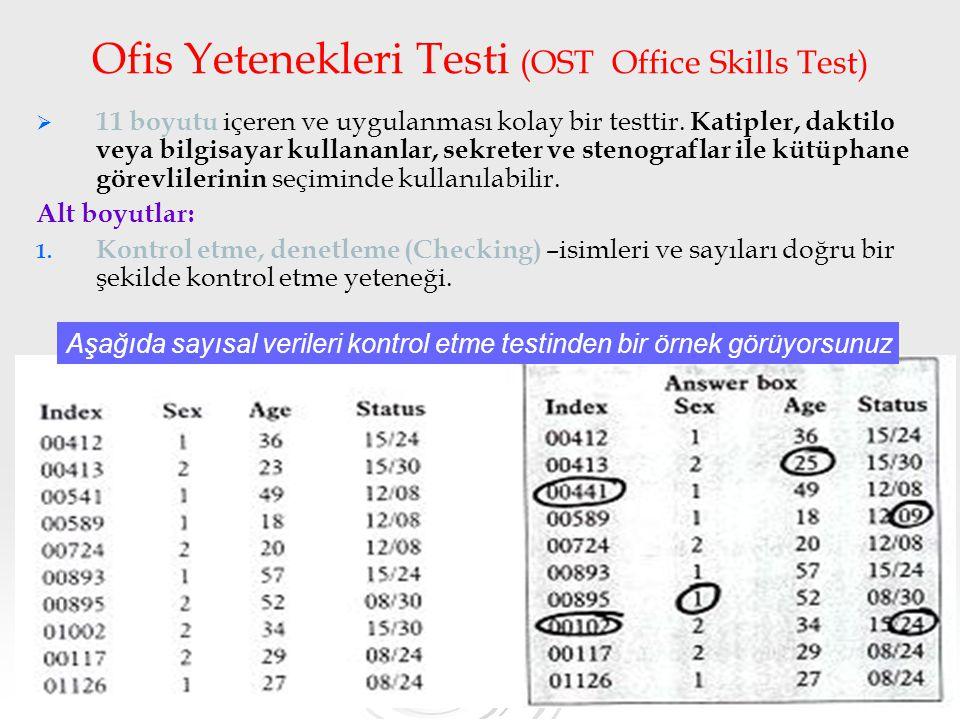 31 Ofis Yetenekleri Testi (OST Office Skills Test)   11 boyutu içeren ve uygulanması kolay bir testtir. Katipler, daktilo veya bilgisayar kullananla