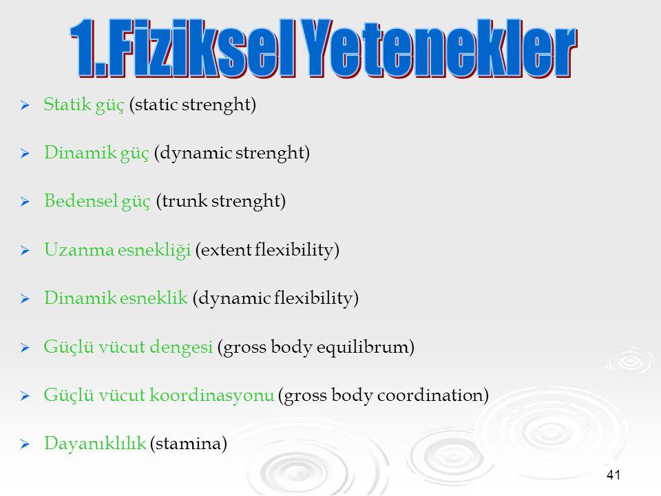 41   Statik güç (static strenght)   Dinamik güç (dynamic strenght)   Bedensel güç (trunk strenght)   Uzanma esnekliği (extent flexibility)  
