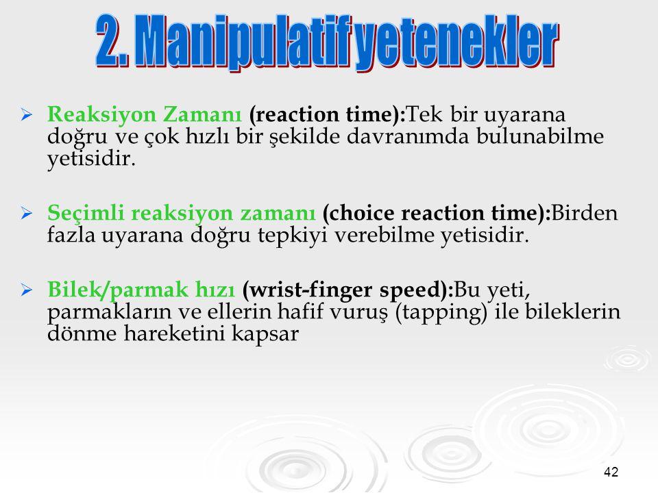 42   Reaksiyon Zamanı (reaction time): Tek bir uyarana doğru ve çok hızlı bir şekilde davranımda bulunabilme yetisidir.   Seçimli reaksiyon zamanı